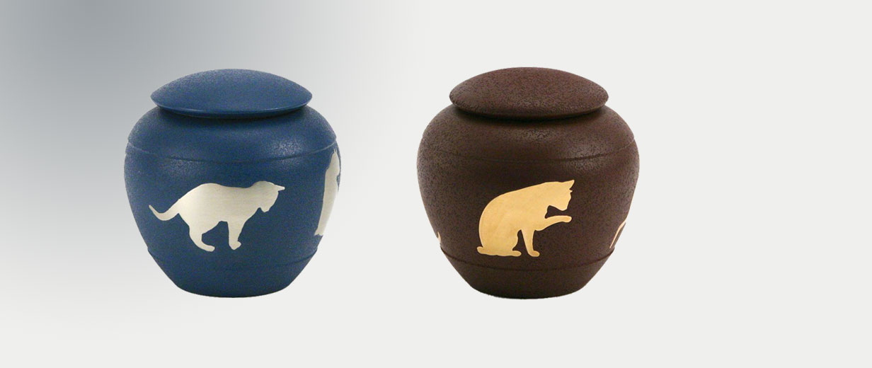 Silhouette Cat Urns in Sienna and Country Blue